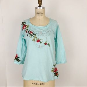 Johnny Was Embroidered Rose floral top